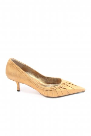 Pura Lopez Spitz-Pumps goldfarben Elegant