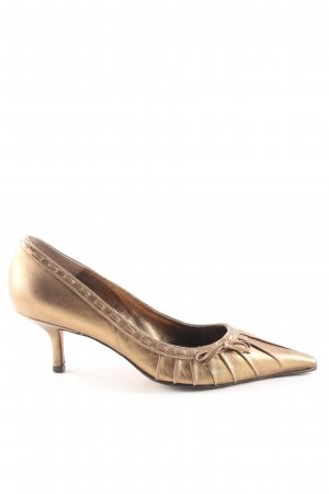 Pura Lopez Spitz-Pumps goldfarben Business-Look