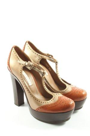 Pura Lopez Escarpin Salomé doré-orange clair style décontracté