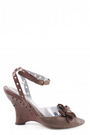 Pura Lopez Wedge Sandals brown business style