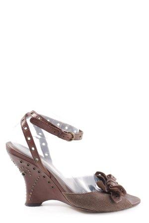 Pura Lopez Wedges Sandaletten braun Business-Look