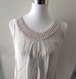 Pura Seta Kleid Spitze Perlen Seide Gr. 40 beigegrau stone
