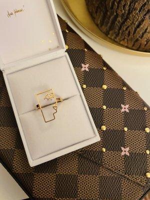 Purelei Zdobiony pierścionek w kolorze różowego złota