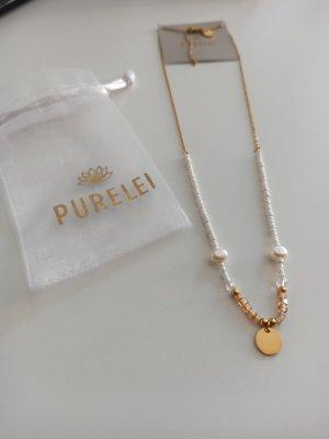 Purelei Collar de perlas blanco-color oro