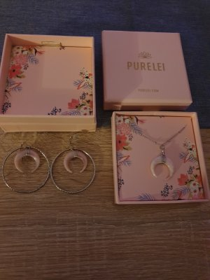 Ketting zilver-stoffig roze
