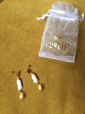 Purelei Pendientes de oro color oro-blanco