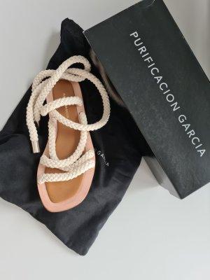 Purificacion Garcia Roman Sandals natural white-beige leather