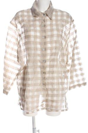PURO LINO Hemd-Bluse wollweiß Allover-Druck Business-Look