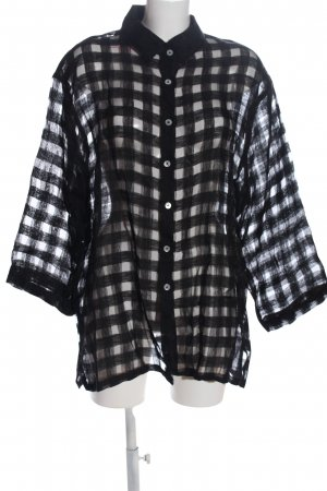 PURO LINO Hemd-Bluse schwarz Karomuster Casual-Look