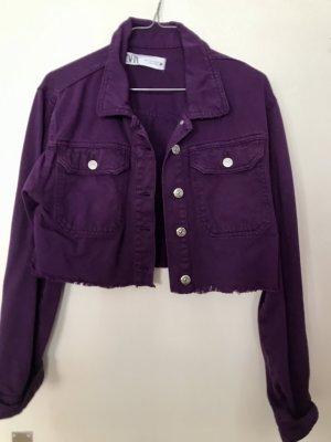Purpur Lila Violette Jeansjacke Vintage Fransen