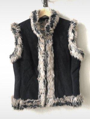 Unbekannte Marke Kamizelka ze sztucznym futrem jasnoszary-czarny