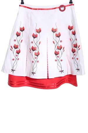 Pussy Deluxe Jupe évasée blanc-rouge motif de fleur élégant