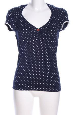 Pussy Deluxe V-Ausschnitt-Shirt blau-weiß Punktemuster Casual-Look