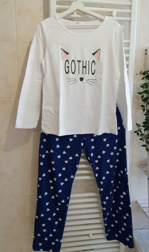 Pyjama white-blue cotton