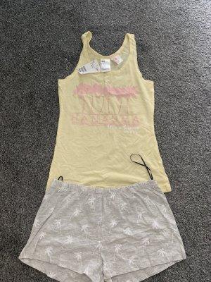 H&M Basic Piżama bladożółty-jasnoszary