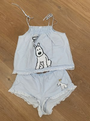 Oysho Pyjama white-baby blue