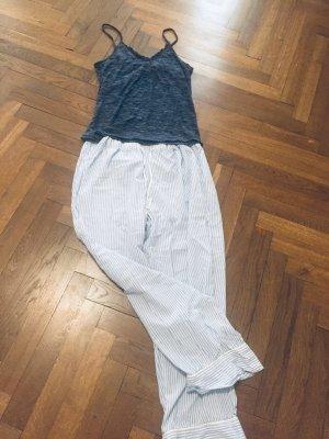 H&M Piżama biały-ciemnoniebieski Tkanina z mieszanych włókien