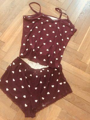 Pyjama Herzchen braun beige Gr. L Zara H&M Shortie sommerlich