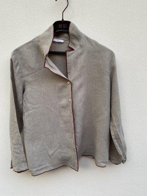 Pyjama mit dunkelroten Paspeln (Hemd + Hose)