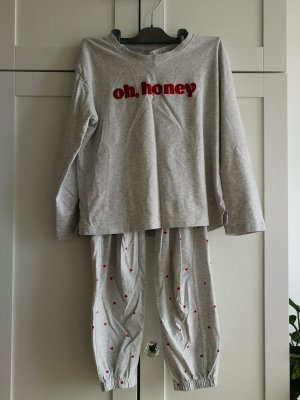 Pyjama lichtgrijs-rood