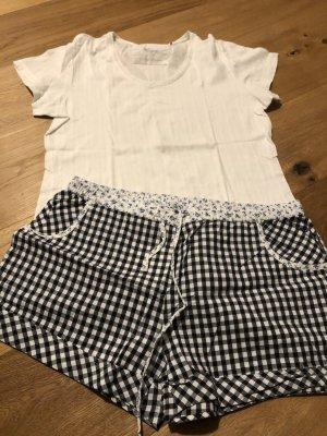 Esprit Pyjama wit-donkerblauw