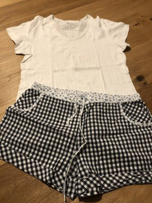 Esprit Piżama biały-ciemnoniebieski