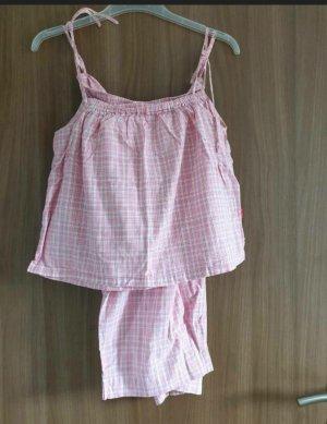 mangoon Pijama blanco-rosa