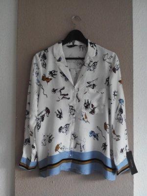 Pyjamahemd mit Hündchenmuster aus 100% Viskose, Größe S neu