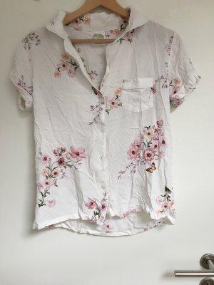 Vintage Pyjama wit-stoffig roze