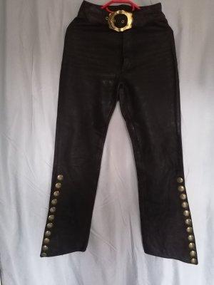 100% Fashion Leren broek zwart