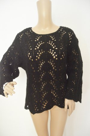 QED London Crochet Sweater black