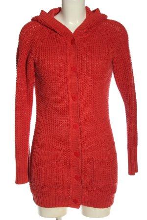 Q/S Kardigan czerwony Warkoczowy wzór W stylu casual