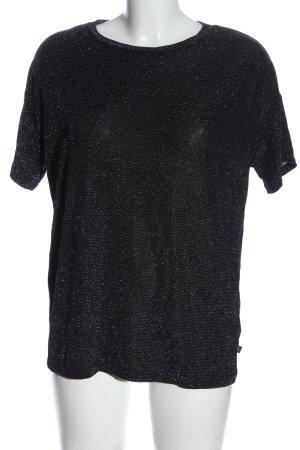 Q/S Blusa brillante negro-color plata estampado a lunares look casual