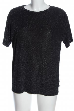 Q/S Glanzbluse schwarz-silberfarben Punktemuster Casual-Look
