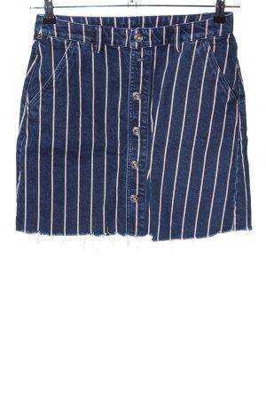 Q/S Jupe en jeans bleu-crème motif rayé style décontracté