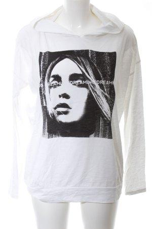 Q/S Kapuzensweatshirt weiß-schwarz Motivdruck Casual-Look
