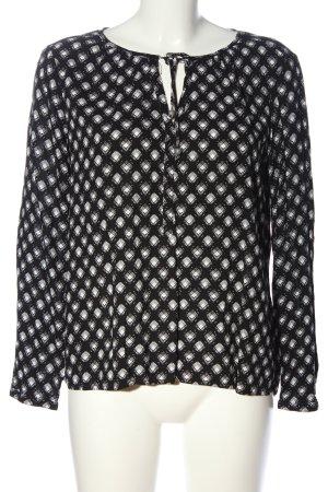 Q/S Langarm-Bluse schwarz-weiß Allover-Druck Business-Look