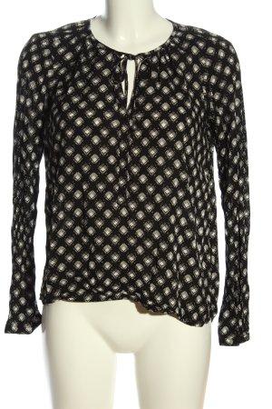Q/S Langarm-Bluse schwarz-creme Allover-Druck Casual-Look