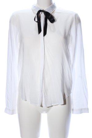 Q/S Langarmhemd weiß-schwarz Casual-Look