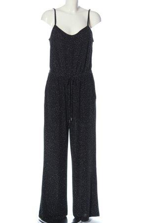 Q/S Langer Jumpsuit noir-argenté Motif de tissage style mouillé