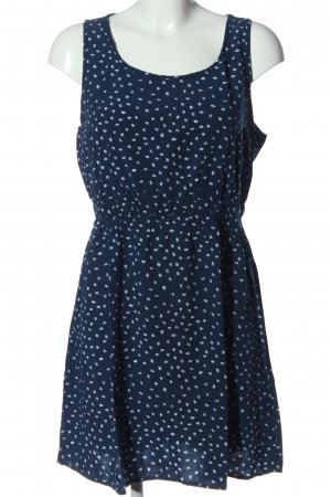Q/S Minikleid blau-weiß Allover-Druck Casual-Look