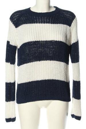 Q/S Strickpullover blau-weiß Streifenmuster Casual-Look
