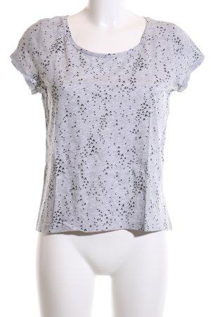 Q/S T-Shirt hellgrau-schwarz Allover-Druck Casual-Look