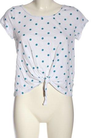Q/S T-Shirt weiß-blau Allover-Druck Casual-Look