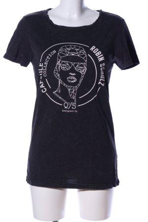 Q/S T-Shirt schwarz Motivdruck Casual-Look
