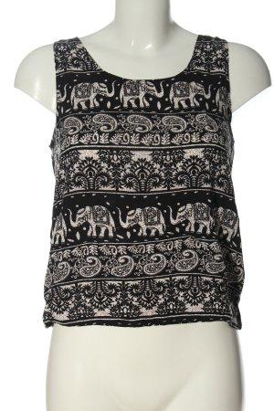 QED London ärmellose Bluse schwarz-creme Motivdruck Casual-Look