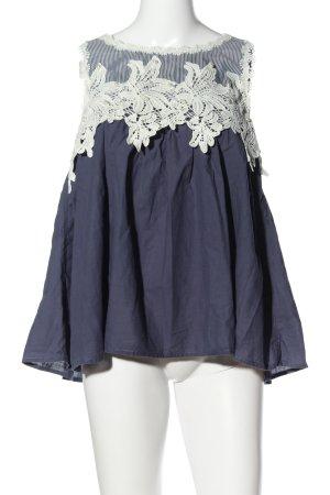 QED London ärmellose Bluse blau-weiß Casual-Look