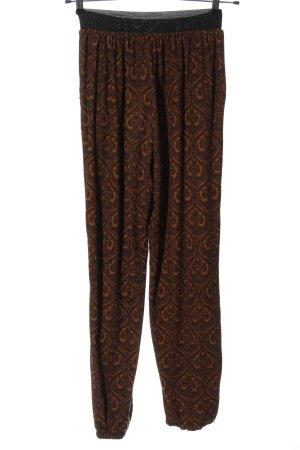 QED London Baggy Pants schwarz-hellorange abstraktes Muster Casual-Look