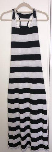 QED London enges bodenlanges Kleid in schwarz weiß