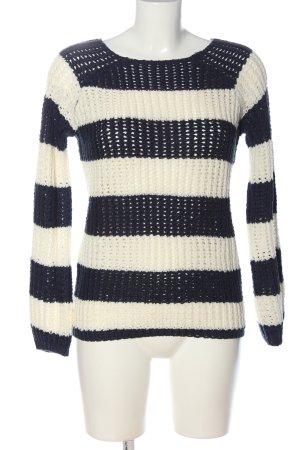QED London Häkelpullover weiß-schwarz Streifenmuster Casual-Look